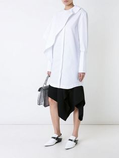 JW Anderson drape neck longline shirt J W Anderson, Long A Line, Blouse Designs, Women Wear, Normcore, Ruffle Blouse, Feminine, Cotton, Shirts