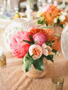 Pretty pink and peach glam floral centerpiece