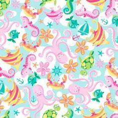 """Ocean Fabric, seahorse crab fabric, girl beach fabric, by the yard or fat quarter, designer quilting fabric, 44"""" wide, 100% cotton, summer"""