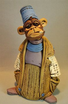 Smoking Monkey Sculpture FREE SHIPPING by RexBenson on Etsy