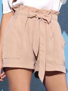 Mauve dusty pink paperbag shorts