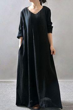 Women Elegant Dress Zanzea Autumn V Neck Long Sleeve Floor-Length Casual  Loose Solid Maxi Long Dress Vestidos Plus Size 26fa427d2646