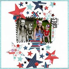 Bella Blvd All American and Color Chaos collections. All American Girls layout by creative team member Kat Benjamin.