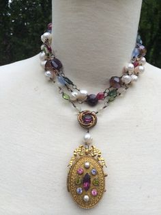 FANCIFUL Superb Triple Strand French Paste Locket by DRAMAJEWELRY