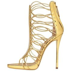 Preowned Giuseppe Zanotti New Gold Leather Gladiator Sandals Heels In... ($900) ❤ liked on Polyvore featuring shoes, sandals, gold, heels, gold sandals, high heel shoes, gold gladiator sandals, gold heeled sandals and greek sandals