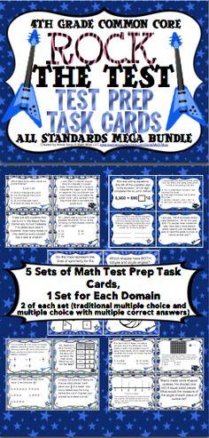 Grade Math Test Prep Grade Math All Standards Task Cards (Rock the Test) Teaching Activities, Teaching Math, Teaching Resources, Teaching Ideas, 4th Grade Math Test, Math Anchor Charts, Math Task Cards, Recording Sheets, Test Prep