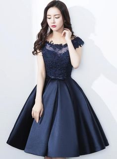 Navy #Blue #HomecomingDress 2018, Applique #Party #Dresses , Knee Length #Formal #Dress #girl #gowns Navy Blue Homecoming Dress, Navy Blue Bridesmaid Dresses, Knee Length Bridesmaid Dresses, Knee Length Dresses, Dama Dresses, Prom Dresses 2016, Party Dresses, Grad Dresses Short, Formal Dresses