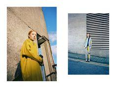 Mustard coat, designed by Stephanie Davidson. Right: Suit trousers, blazer and shirt, all Salwa McGill; shoes, Debenhams. Styling: Alexandra Fiddes Photographs: Igor Termenon