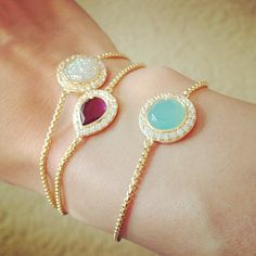 Delicate bracelets to add color to your look without being distracting.