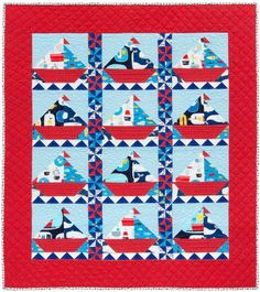 """""""Sailing Sailing"""" quilt designed by Hollyhock Quilts. Features Kona Cotton and Message in a Bottle by Suzy Ultman."""