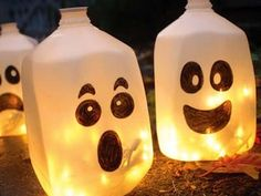 Fun and Easy Halloween Crafts  Heres a super easy craft you can make by recycling your old plastic white milk jugs. Not only is this craft quick and simple to make, the end result adds a little ghoulish appeal to your Halloween decorations.  They took a milk jug, and drew on friendly and funny ghost faces on the exterior. By placing battery powered lights inside, these jugs make the perfect centerpiece to illuminate your party space.