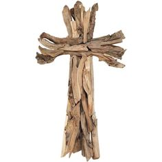"""[""""Wooden Strips and Twigs Wall Cross measures 24 3\/4\"""" high.""""] $59.99"""