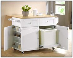Delicieux Kitchen Cart With Trash Bin