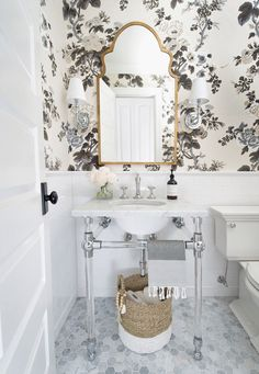 "These ""One Room Challenge"" Guest Participant Transformations Really Wowed Us - A Pristine Powder Room Mirror- Wisteria Moroccan Mirror, Gold Wallpaper- Pyne Hollyhock in Charcoal - Bad Inspiration, Bathroom Inspiration, Bathroom Ideas, Bathroom Colors, Zebra Bathroom, Bathroom Beach, Funny Bathroom, Bathroom Trends, Interior Inspiration"