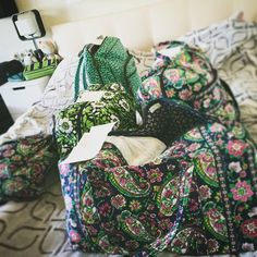 Petal Paisley, Luck You and Shower Vines match well when picking patterns for travel bags.
