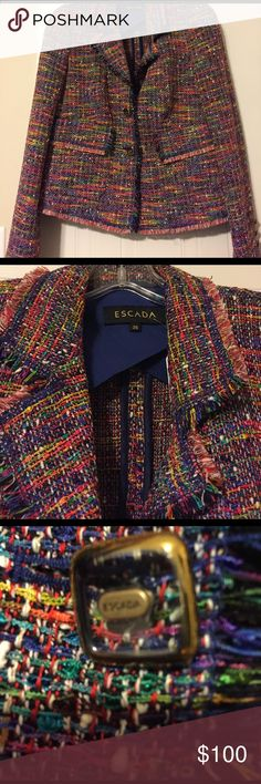 🌈💕ESCADA fantasy tweed blazer size 36 Cute rainbow tweed escalator blazer! It's a reposh but I never wore it! Still has resale tags on it from like a consignment store for $388. Great deal! Ask any questions, I bought it and the seller assured that it would fit but it did not. Measurements are armpit to armpit closed 18 inches flat waist 17 inches flat shoulder to shoulder 15 inches,  length 20 inches. I am a top rated seller and can ship same day or next day! 💕thanks for checking out my…