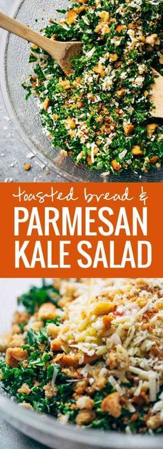 The Best Toasted Bread, Parmesan, and Kale Salad tossed in a tangy shallot, lemon, and olive oil dressing! YUM!