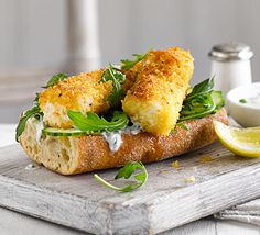 Lighter Fish finger sarnies ♥ ♥ ♥ Enjoy ♥ ♥ ♥ Slash the fat, salt and calories in this comfort food classic, with homemade haddock fingers served on ciabatta as open sandwiches Lunch Recipes, Seafood Recipes, Great Recipes, Cooking Recipes, Favorite Recipes, Healthy Recipes, Healthy Food, Savoury Recipes, Recipe Ideas