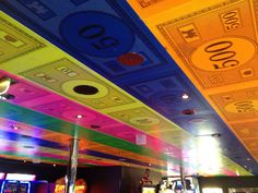 Picture of the arcade room's ceiling aboard the #Carnival Glory