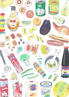 Hennie Haworth illustration for recipe book for kids Watercolor Food, Watercolor Paintings, Food Illustrations, Illustration Art, Pinterest Instagram, Food Drawing, Kitchen Art, Food Coloring, Cute Drawings