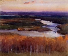 """""""Autumn Landscape with a River"""" (1895) by Eero Järnefelt - Järnefeltiä on verrattu Albert Edelfeltiin ja Akseli Gallen-Kallelaan:Hänen on nähty sijoittuvan näiden kahden välimaille: psykologisesti hän oli terävämpi kuin Edelfelt,tarkkailijana vähemmän subjektiivinen kuin Gallen-Kallela.Osittain juuri vetäytyvästä ja kriittisestä taiteilijantyypistään johtuen Järnefelt onkin jäänyt näiden kahden suurmestarin varjoon."""