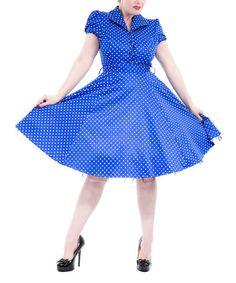 Look at this #zulilyfind! Blue & White Small Dot Shirt Dress - Women & Plus #zulilyfinds