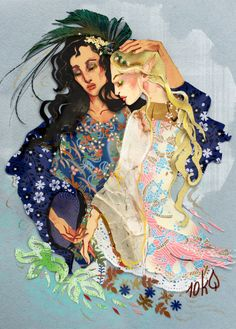 And at times Melian and Galadriel would speak together of Valinor and the bliss of old; but beyond the dark hour of the death of the Trees Galadriel would not go, but ever fell silent. ~ The Silmarillion, Chapter 15 (Galadriel and Melian by sassynails, deviantART)