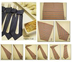 Napkins folds - creative and inspiring- Servietten Falten – kreativ und inspirierend paper napkins fold tie - Paper Napkin Folding, Paper Napkins, Folding Napkins, Ideas Día Del Padre, Origami Youtube, Father's Day Celebration, Jw Gifts, Party Table Decorations, Deco Table