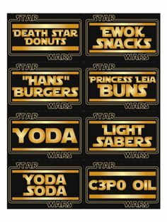 Free Star Wars Party Food Printable Stickers/Labels