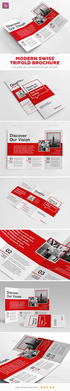Modern Swiss Trifold Brochure Template InDesign INDD. Download here: http://graphicriver.net/item/modern-swiss-trifold-brochure/15687679?ref=ksioks