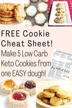 Make 5 different kinds of cookies from one easy 6-ingredient dough! Simplify your holiday baking and fill up your cookie tray with healthy options this year. Sugar Free Cookie Recipes, Sugar Free Cookies, Sugar Free Desserts, Keto Cookies, Gluten Free Cookies, Low Carb Desserts, Low Calorie Recipes, Gluten Free Desserts, Low Carb Lunch