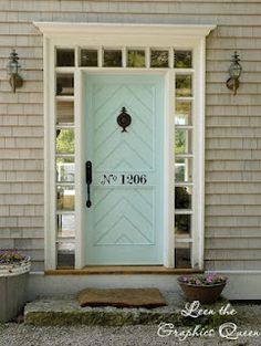 House number painted on a lovely door.  No way I'd ever paint my front door, but maybe for the exterior mud room door?