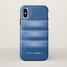 Manly Blue Gray Stripes Geometric Monogram iPhone X Case - patterns pattern special unique design gift idea diy