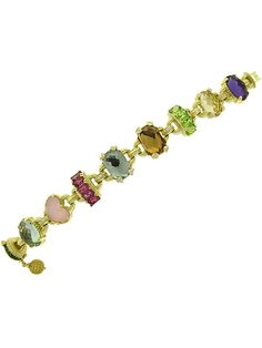 Judith Ripka Yellow Gold Ambrosia Town Country Multi Stone Bracelet with Purple Amethyst, Mint Green Quartz and Diamonds.From the Monaco Collection. Available at London Jewelers. Amethyst Bracelet, Stone Bracelet, Purple Haze, Purple Amethyst, Judith Ripka, Green Quartz, Jewel Box, Mint Green, Yellow