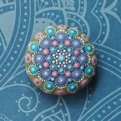 Jewel Drop Mandala Painted Stone painted by par ElspethMcLean