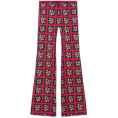 Gucci Floral Check Print Flare Pant (€975) ❤ liked on Polyvore featuring men's fashion, men's clothing, men, ready to wear, trousers & shorts and gucci mens clothing