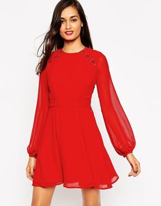 ASOS+Skater+Dress+with+Metalwork+and+Lace+Detail