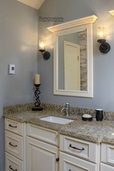 antique bronze fixtures bathroom white cabinets - white framed ...