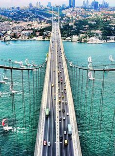 Istanbul Bosphorus Bridge, Turkey. I've only ever been to Istanbul airport...it wasn't quite as beautiful