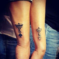 20 matching tattoo ideas for sisters tattoo designs king tat Couple Tattoos Love, Cool Tattoos For Guys, Trendy Tattoos, Ink Tatoo, Mann Tattoo, Sister Tattoo Designs, Sister Tattoos, Foot Tattoos, Tattoo Ideas