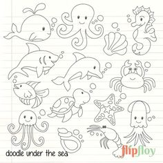 under the sea creatures felt templates Sea Animals Drawings, Creature Drawings, Tier Doodles, Under The Sea Animals, Sea Creatures Drawing, Baby Poster, Sea Drawing, Animal Templates, Animal Doodles