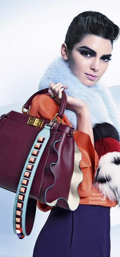 Fendi Fall 2016 featuring Kendell Jenner cast by Exposure NY's Piergiorgio Del Moro. Photographed by Fendi designer Karl Lagerfeld, with stylists Charlotte Stockdale & Katie Lyall. Kendall And Kylie, Kendall Jenner, My Bags, Purses And Bags, Fur Accessories, Fashion Bags, Womens Fashion, Fendi Bags, Editorial Fashion