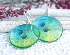 Blue, green, aquamarine with flowers. Handmade Jewelry, Unique Jewelry, Handmade Gifts, Resin Jewellery, Semi Transparent, Blue Green, Drop Earrings, Trending Outfits, Nature