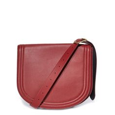 Diane von Furstenberg Small Saddle Bag (£610) ❤ liked on Polyvore featuring bags, handbags, shoulder bags, wine, red leather handbags, red purse, leather saddle bag purse, leather shoulder handbags and leather handbags
