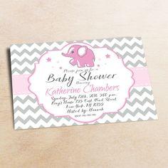 Baby Shower Invitation /Grey pink Elephant Baby Shower invitation 18
