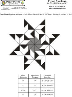 Free paper piecing patterns from Paper Pieces.