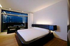 Interior design of a bedroom at Hotel Puerta America Design Hotel in Madrid Spain