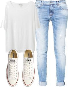 converse, white t, rolled jeans. Perfect casual wear                                                                                                                                                                                 More