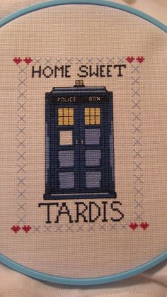 Home Sweet Tardis Cross Stitch Pattern by DaintyLaceSpiderWebs on Etsy