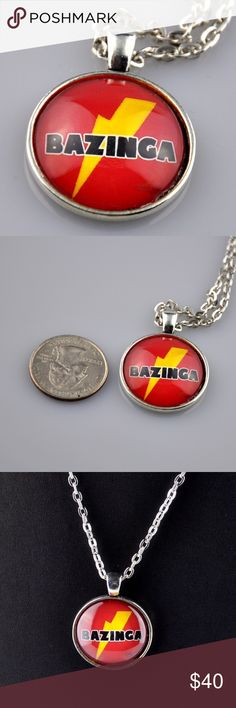 "Red Bazinga Big Bang Theory Handmade Necklace What better way to channel your inner Sheldon Cooper than with this red Bazinga pendant necklace. Handmade pendant is 1"" round and made with a high quality photo image, sealed behind glass, and mounted in an antique silver tone tray. This Big Bang Theory Necklace comes with a matching 24"" chain necklace. Hand assembled so small air bubbles may be present. Water resistant not waterproof. Smoke free pet friendly home. RBBT01 Jennies Jewelry Chest…"